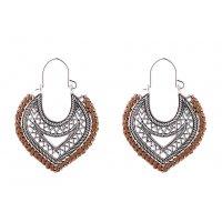 E1001 - Heart cotton rope woven earrings