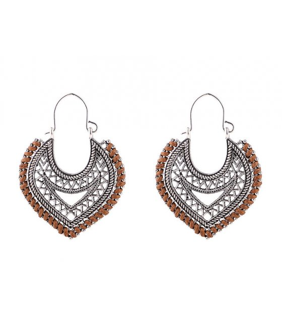 E1001 - Heart cotton rope woven earrings