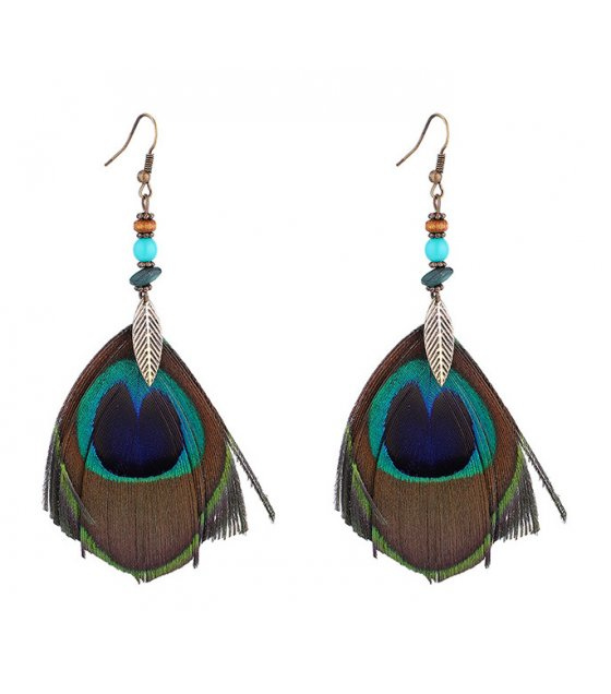 E1005 - Bohemian ethnic style peacock feather earring