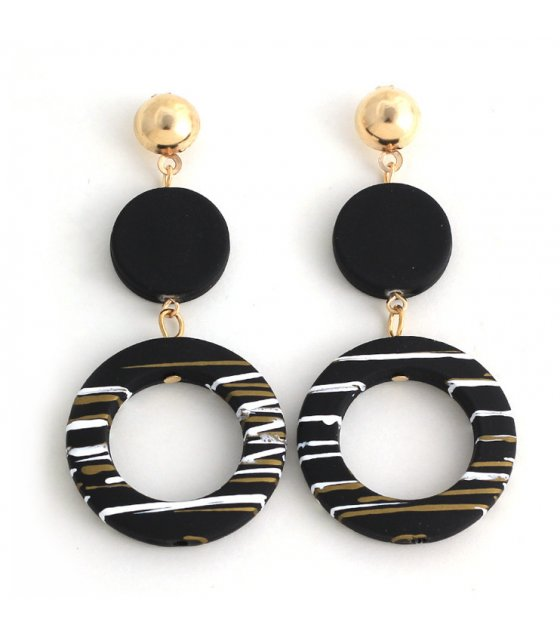 E1010 - Simple temperament acrylic circle earrings