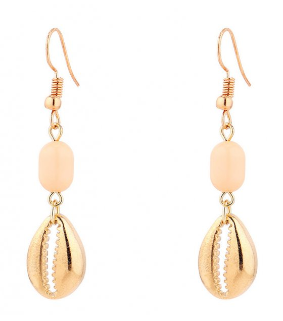 E1013 - Sweet metal shell long earrings