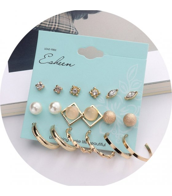 E1014 - Pearl ball geometric earrings