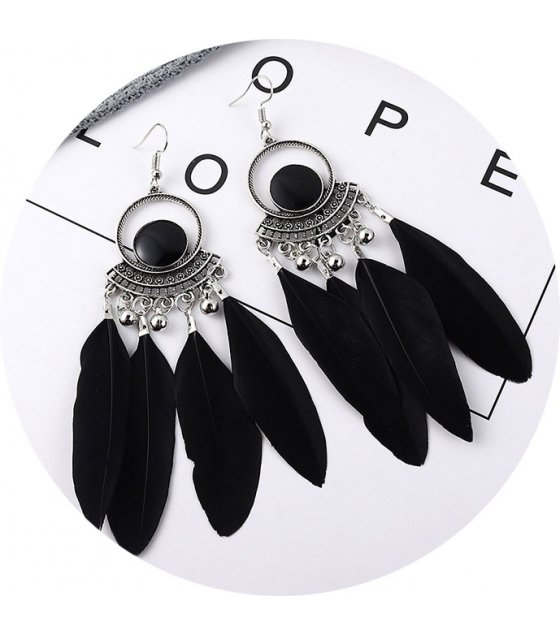 E1016 - Circle tassel earrings