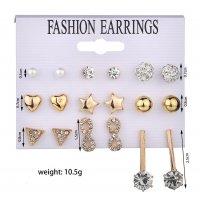 E1023 - Triangle 8 word rhinestone 9 pairs set earrings