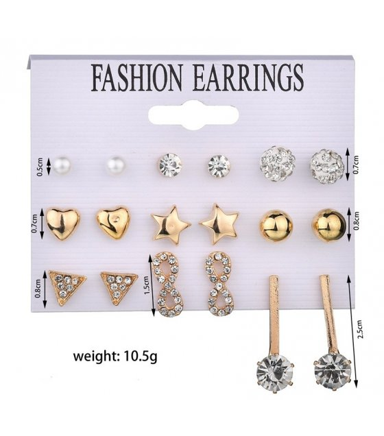 E1023 - Triangle 8 word rhinestone 9 pairs set earrings