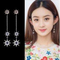 E1025 - Silver Star Long Earrings
