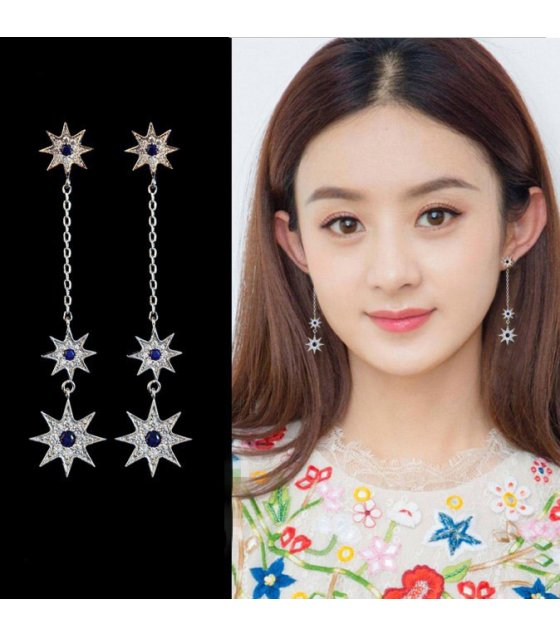 E1025 - Silver Star Long Earrings