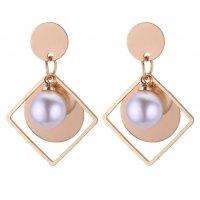 E1030 - Hollow geometric pearl round earrings