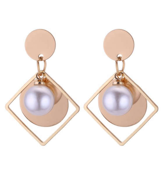 E1030 - Hollow geometric pearl round earrings