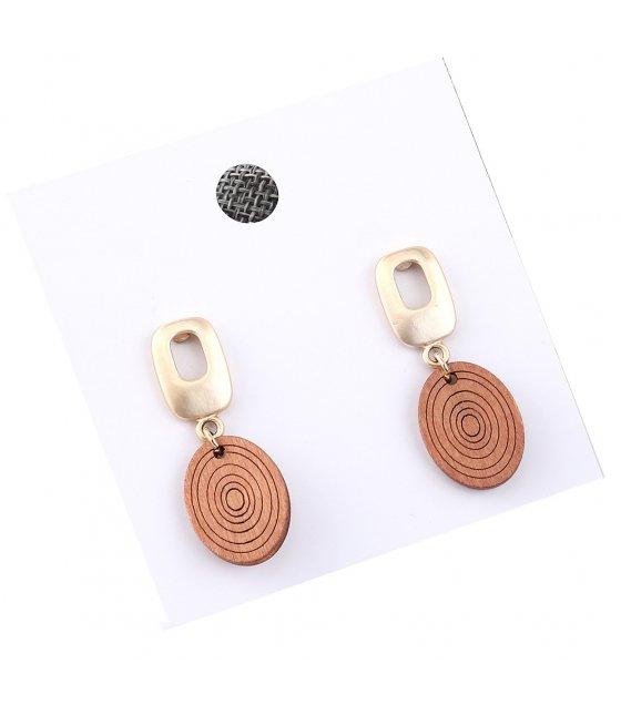 E1036 - Retro Long round wood earrings