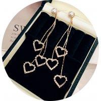 E1046 - Simple diamond love tassel earrings