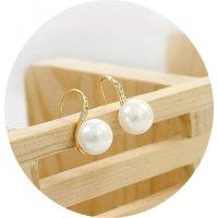 E1048 - Korean sweet simple pop rhinestone pearl earrings