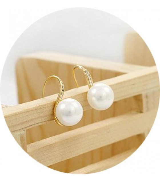 E1048 - Korean sweet simple pop rhinestone pearl earrings
