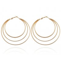 E1052 - Simple round double circle earrings