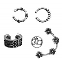 E1053 - Hollow leaves with diamonds C-shaped earrings