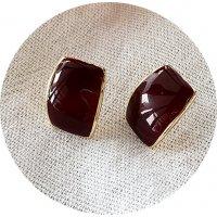E1057 - Korean Drip Glazed Coffee Bean Earrings