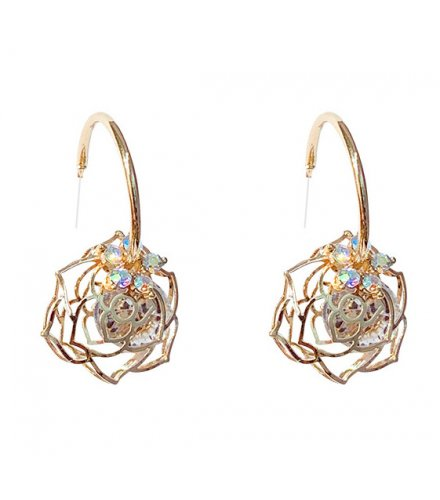 E1061 - Zircon Hollow Rose Earrings