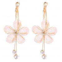 E1072 - Flower long tassel earrings