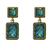 E1075 - Square retro green earrings