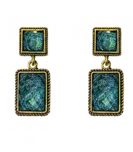 E1075 - Square retro green earrings