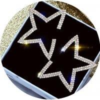 E1078 - Diamond pentagram earrings