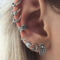 E1081 - Bohemia retro eight-piece earrings
