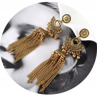 E1115 - Retro exaggerated chain tassel earrings