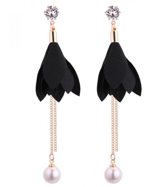 E1116 - Korean fresh leaves pearl tassel zircon earrings