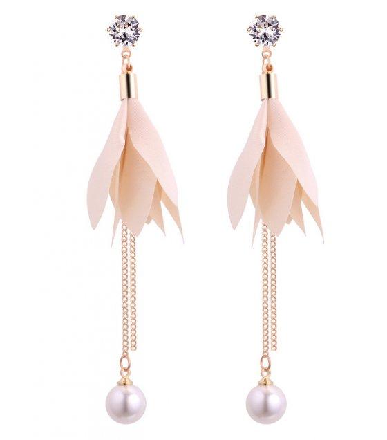 E1117 - Pearl tassel zircon earrings