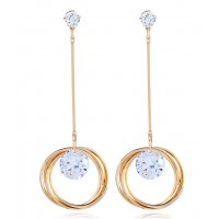 E1121 - Korean temperament long ring earrings