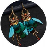 E1124 - Long feather pendant tassel earrings