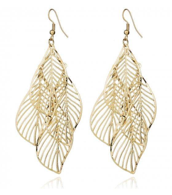 E1144 - American fashion hollow metal leaf earrings