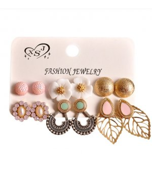 E1147 - Flower leaf crystal earring set