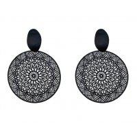 E1166 - Hollow geometric circle black earrings