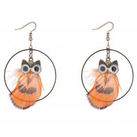 E1171 - Retro owl feather earrings