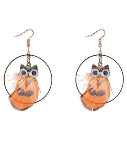 E1171 - Retro owl feather earrings