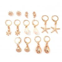 E1182 - Starfish pearl shell earrings