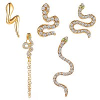 E1192 - Five-piece Set Full Diamond Snake Stud Earrings