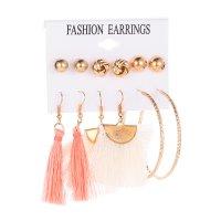 E1193 - Pink white tassel circle pearl Earrings
