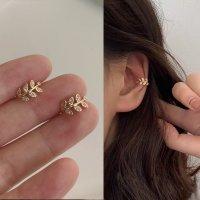 E1199 - Korean zirconium diamond leaf ear bone clip