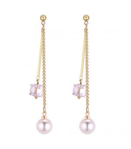 E1213 - Long pearl tassel earrings