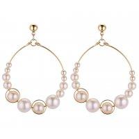 E1217 - Fashion pearl beaded hoop geometric earrings