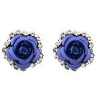 E1218 - Diamond-studded rose earrings