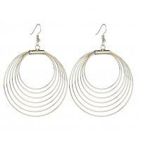E1221 - Metal simple hollow round earrings