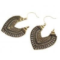 E1222 - Bronze Carved Earrings