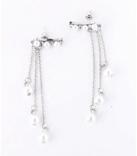 E1224 - Diamond pearl tassel earrings