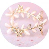 E1225 - Diamond flower leaf opal ear clip earrings