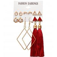 E1231 - Moon Triangle Tassel Earrings Set