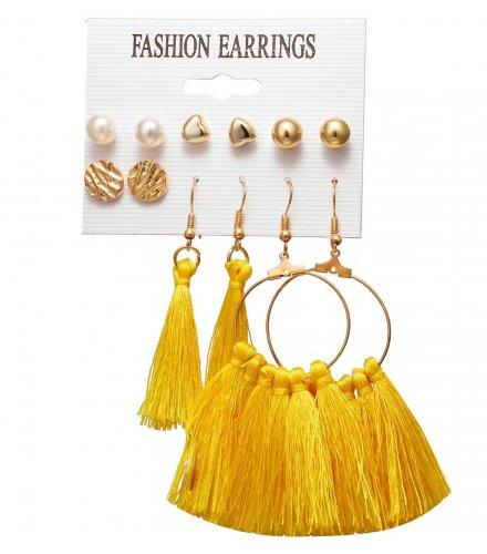 E1232 - Big Round Tassel Earring Set