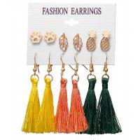 E1233 - Leaf Tassel Earring Set
